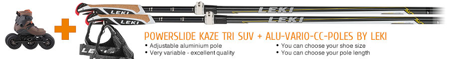Adjustable aluminium pole, very variable - excellent quality, you can choose your shoe size, you can choose your pole length